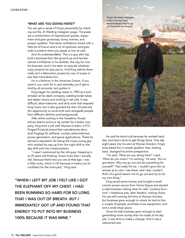 The WELDER magazine feature on John King of JK Welding